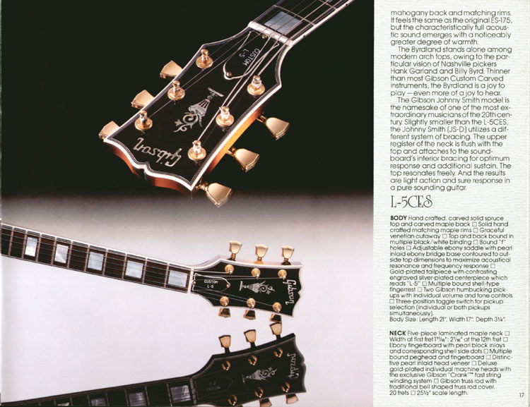 1983 Gibson guitar and bass Guitar Catalogue Page 17 - Gibson L-5CES