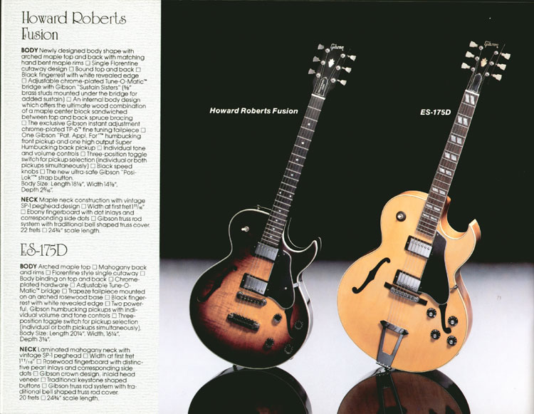 1983 Gibson guitar and bass Guitar Catalogue Page 18 - Gibson Howard Roberts Fusion and ES-175D
