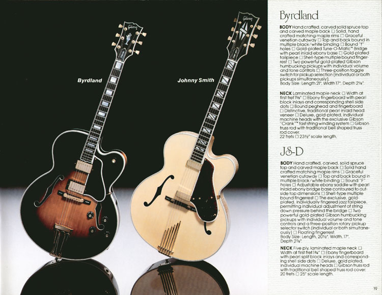 1983 Gibson guitar and bass Guitar Catalogue Page 19 - Gibson Byrdland and Johnny Smith