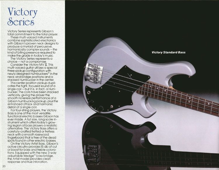 1983 Gibson guitar and bass catalogue page 20 - Victory Standard Bass