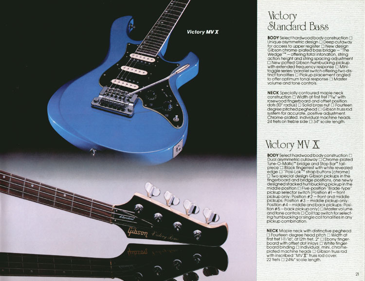 1983 Gibson guitar and bass Guitar Catalogue Page 21 - Victory Standard Bass and Victory MV X Guitar