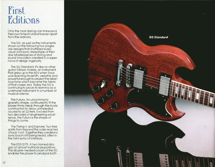 1983 Gibson guitar and bass Guitar Catalogue Page 22 - Gibson SG Standard