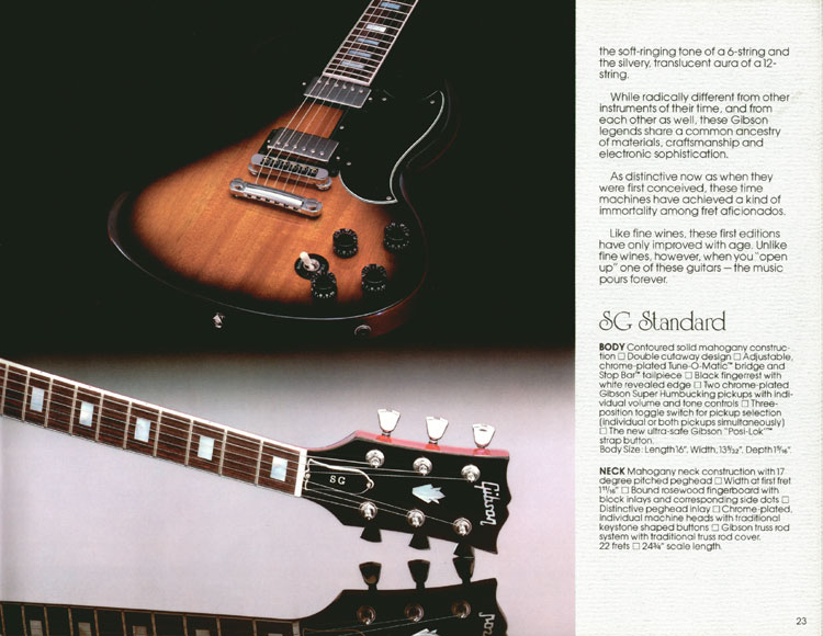 1983 Gibson guitar and bass Guitar Catalogue Page 23 - Gibson SG Standard