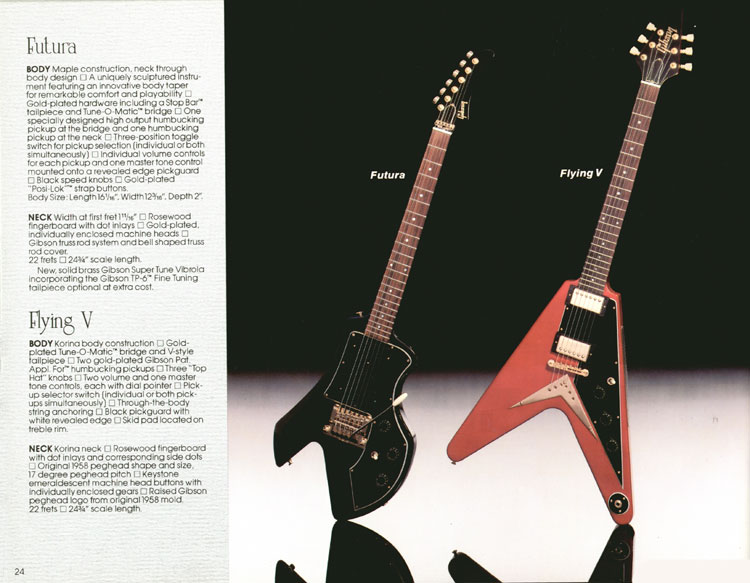 1983 Gibson guitar and bass Guitar Catalogue page 24 - Futura and Flying V
