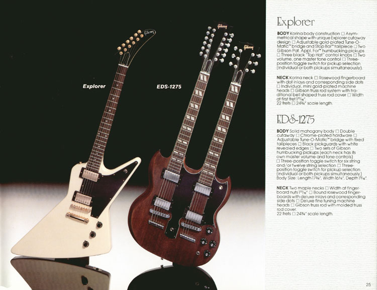 1983 Gibson guitar and bass Guitar Catalogue Page 25 - Explorer and EDS-1275