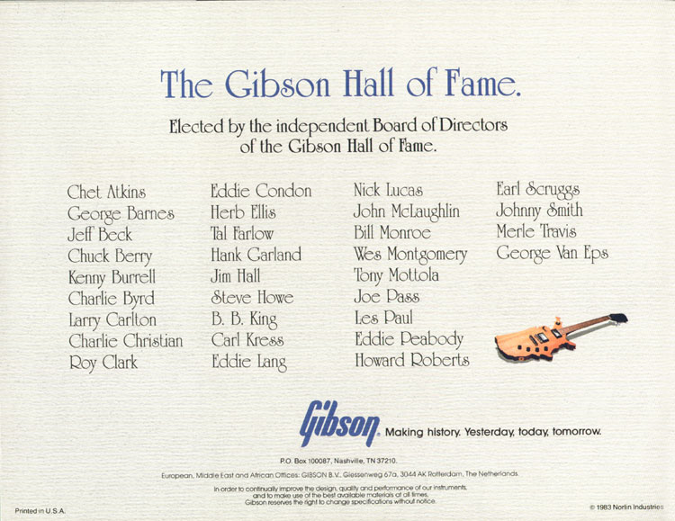 1983 Gibson guitar and bass Guitar Catalogue back cover