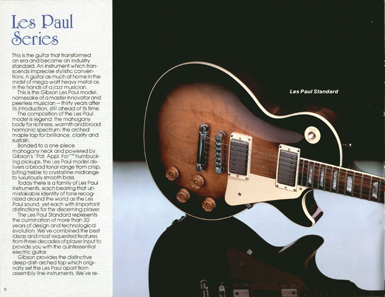 1983 Gibson guitar and bass catalogue page 6 - Les Paul Series