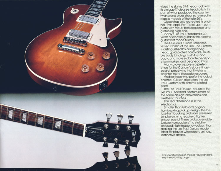 1983 Gibson guitar and bass catalogue page 7 - Les Paul Series