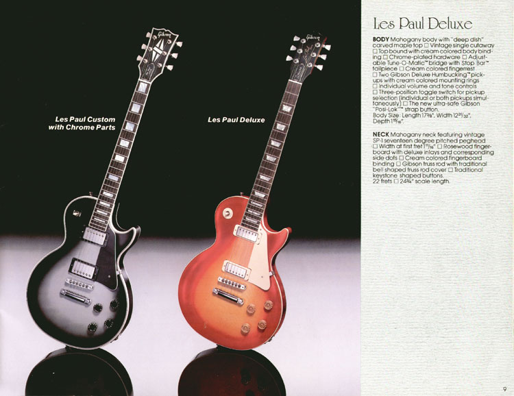 1983 Gibson guitar and bass catalogue page 9 - Les Paul Custom With Chrome Parts and Les Paul Deluxe