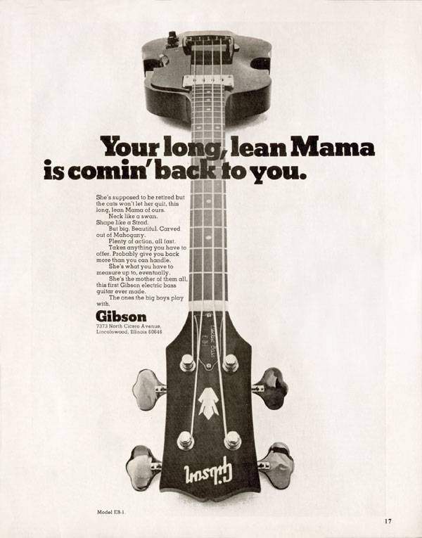 Gibson advertisement (1970) Your Long Lean Mother Is Comin