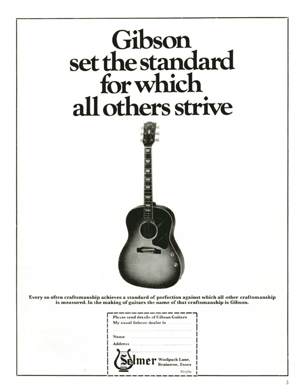 Gibson advertisement (1969) Gibson Set the Standard for Which All Others Strive