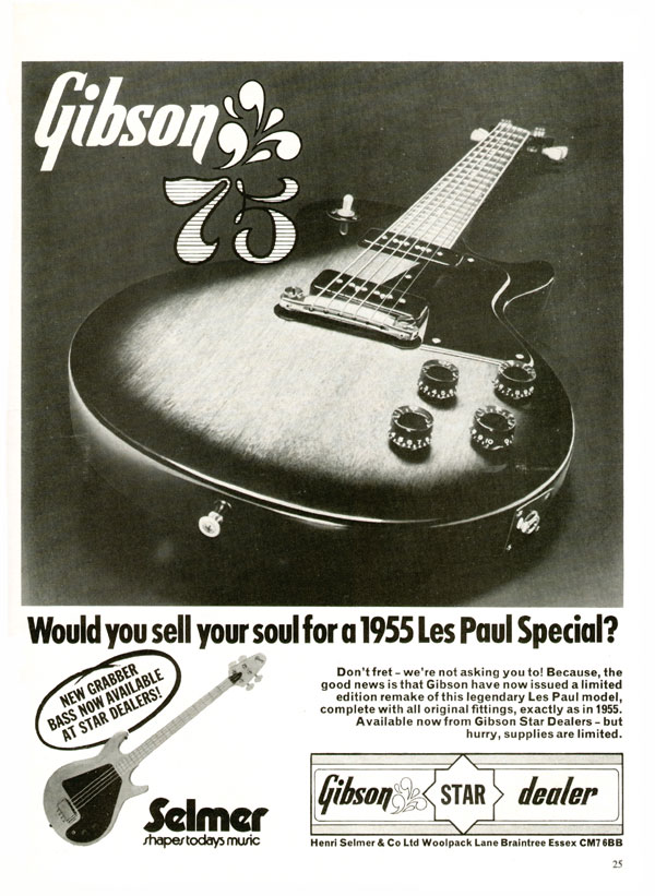 Gibson advertisement (1975) Would you sell your soul for a 1955 Les Paul Special