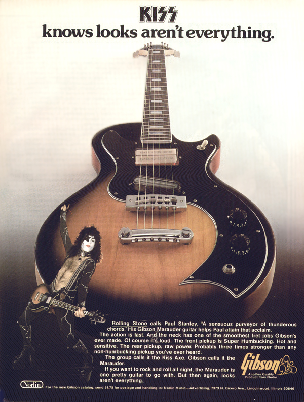 Gibson advertisement (1976) KISS Knows looks Aren