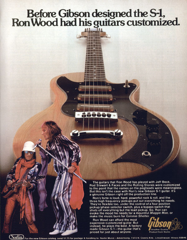 Gibson advertisement (1976) Before Gibson Designed The S-1, Ron Wood Had His Guitars Customized