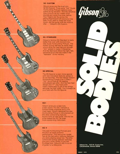 1973 Gibson solid bodies leaflet