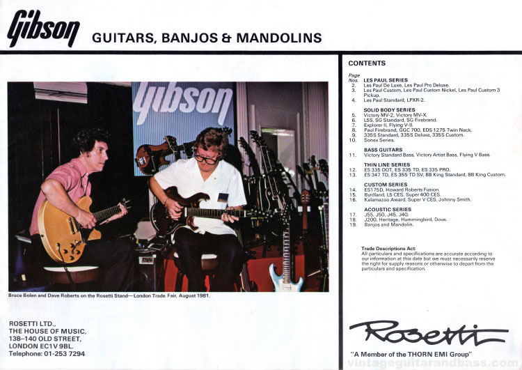 1981 Gibson guitar and bass catalogue front cover