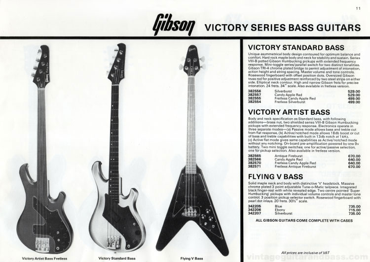 1981 Gibson guitar catalogue (Rosetti, UK) Page 11 - Gibson Victory and Flying V bass guitars