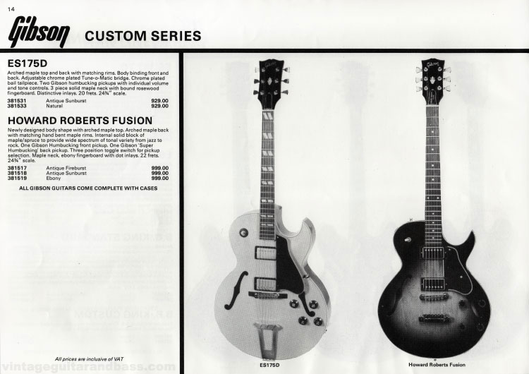 1981 Gibson guitar catalogue (Rosetti, UK) Page 14 - Gibson ES-175D and Howard Roberts Fusion