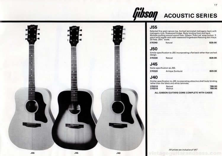 1981 Gibson guitar catalogue (Rosetti, UK) Page 17 - Gibson  J40, J45, J50 and J55