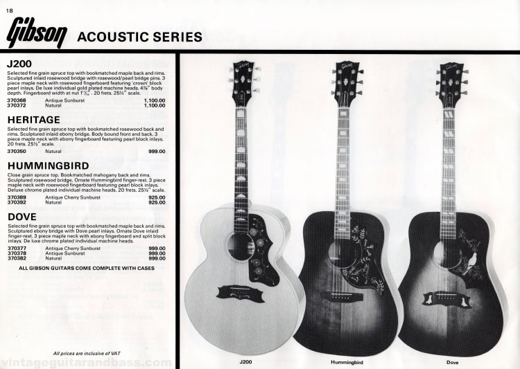 1981 Gibson guitar catalogue (Rosetti, UK) Page 18 - Gibson J200, Heritage, Hummingbird and Dove acoustic guitars
