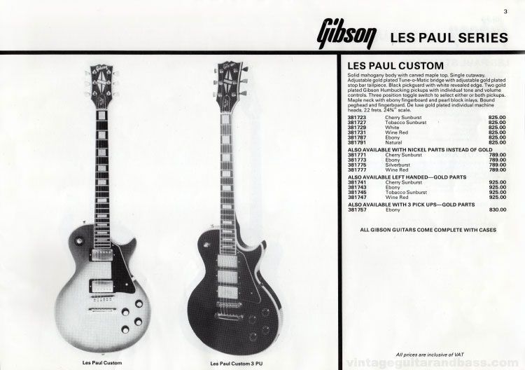 1981 Gibson (Rosetti, UK) catalogue page 3 - Gibson Les Paul Custom