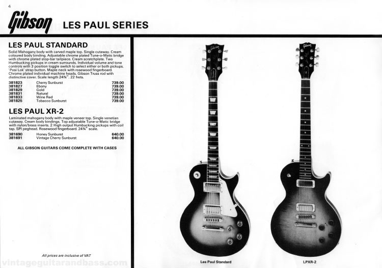 1981 Gibson (Rosetti, UK) catalogue page 4 - Gibson Les Paul Standard and XR-2
