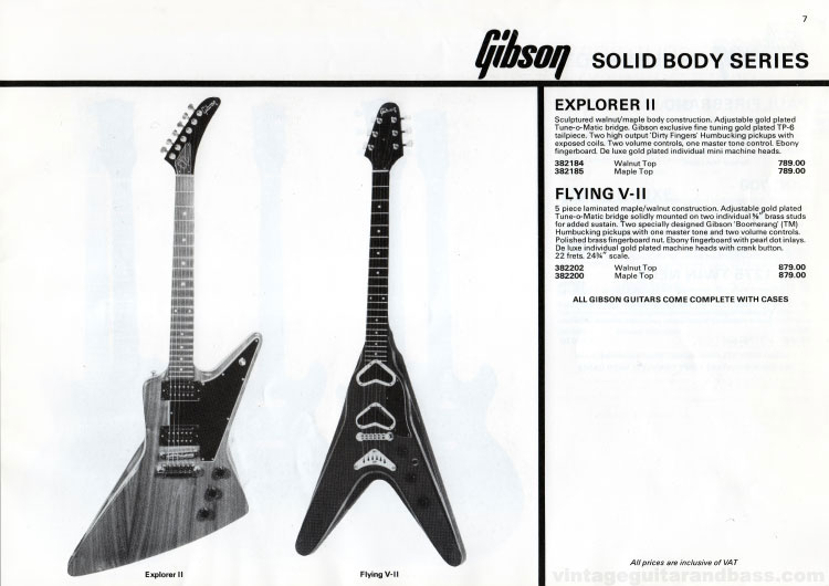 1981 Gibson (Rosetti, UK) catalogue page 7 - Gibson Explorer II and Flying V II