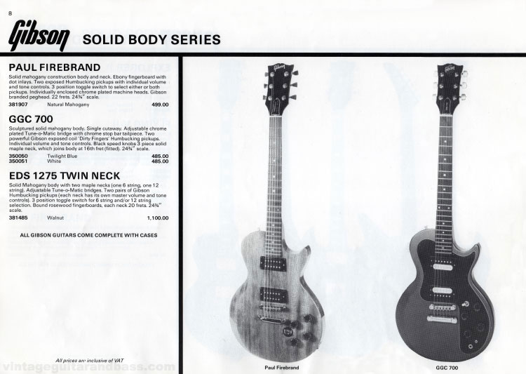 1981 Gibson (Rosetti, UK) catalogue page 8 -  Gibson Paul Firebrand, GGC-700 and EDS-1275