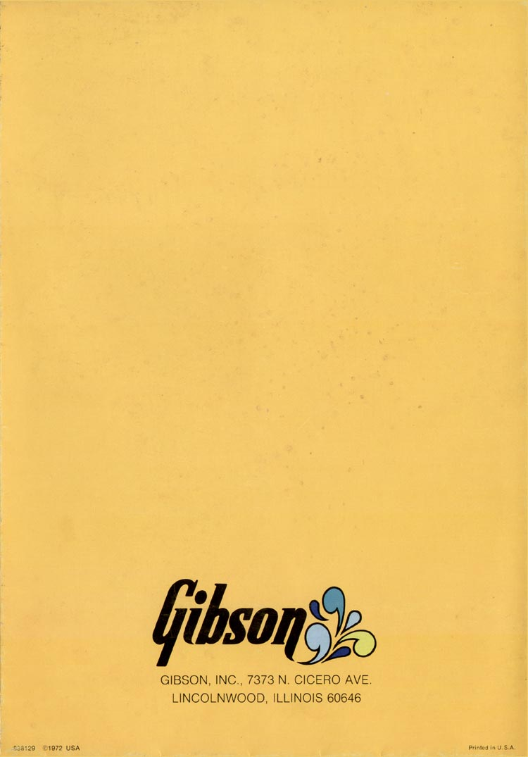 1972 Gibson solid bodies brochure - back cover