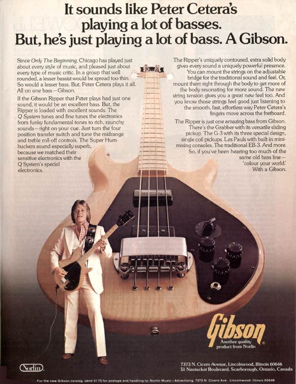 Gibson advertisement (1977) It Sounds Like Peter Ceteras Playing A Lot Of Basses