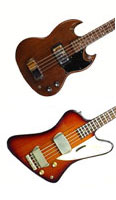 Gibson EB0 and Thunderbird II bass guitars