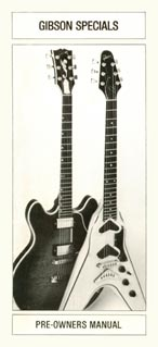 Cover of the 1981 Gibson pre-owners folder, featuring the Flying V II and the active ES-Artist