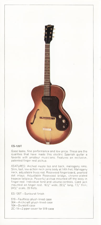 1970 Gibson thinline catalogue page 10 - ES-120T