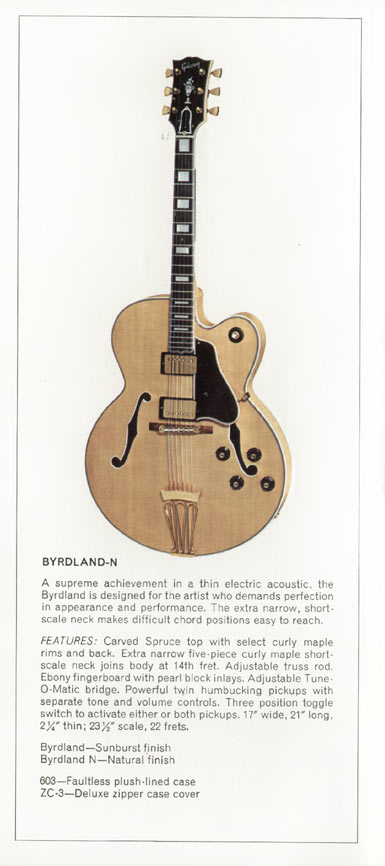 1970 Gibson thinline catalogue page 2 - Gibson Byrdland