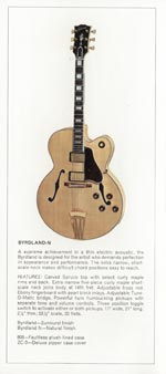 1970 Gibson thinline catalogue page 2