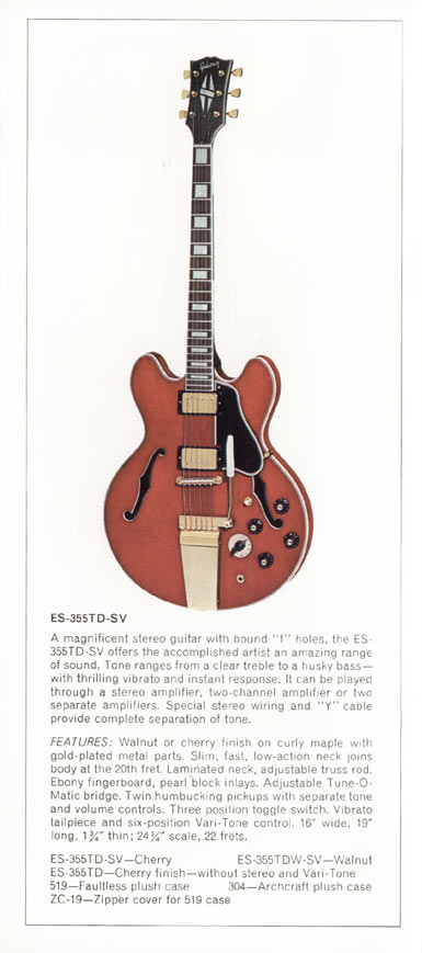 1970 Gibson thinline catalogue page 4 - ES-355TDSV