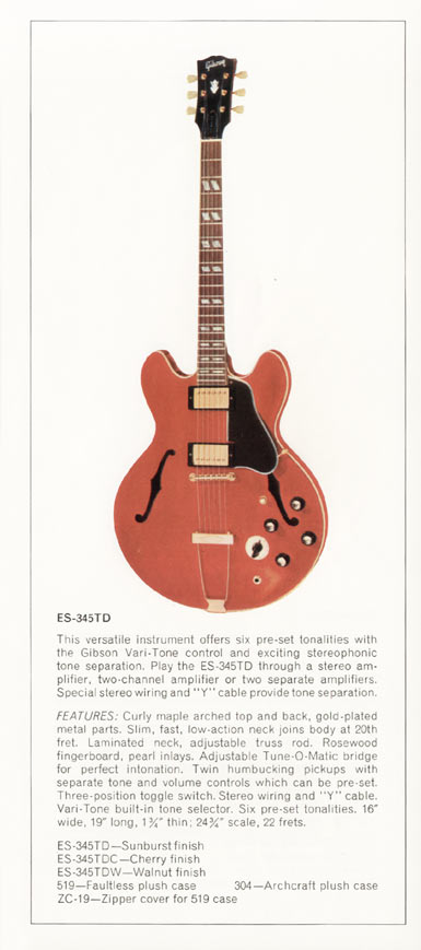 1970 Gibson thinline catalogue page 5 - ES-345TD