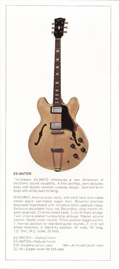 1970 Gibson thinline catalogue page 6 - ES-340TD