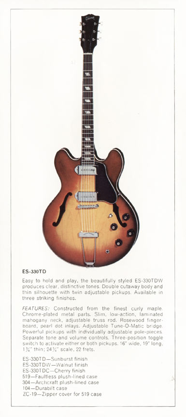 1970 Gibson thinline catalogue page 8 - ES-330TD