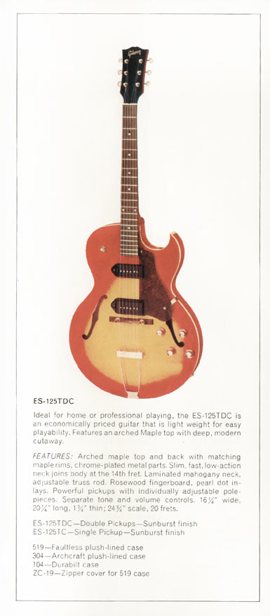 1970 Gibson thinline catalogue page 9 - ES-125TD