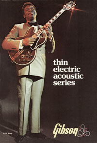BB King on the cover of the 1975 Gibson Thinline catalog