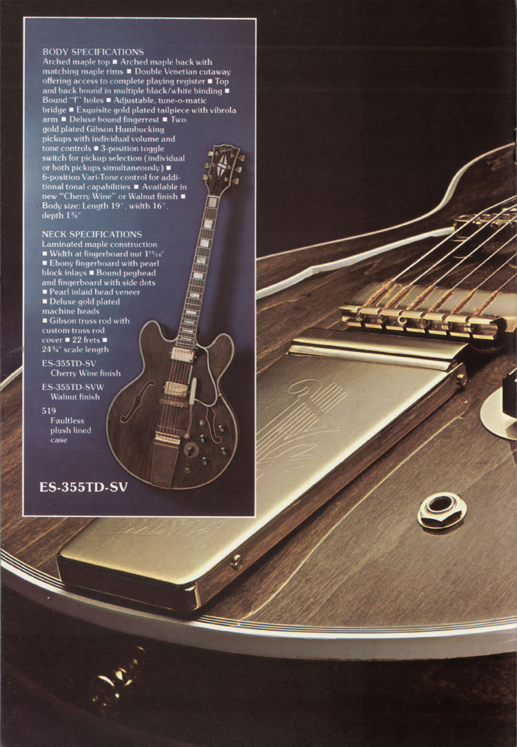 1975 Gibson thinline catalogue page 4 - ES-355TDSV