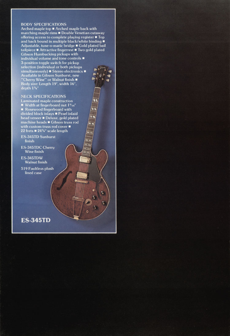1975 Gibson thinline catalogue page 6 - ES-345TD