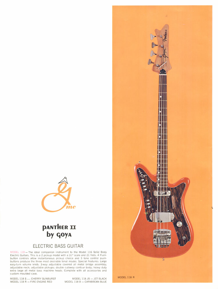 1966 Goya guitar catalogue page 10, Goya 118 Panther II bass