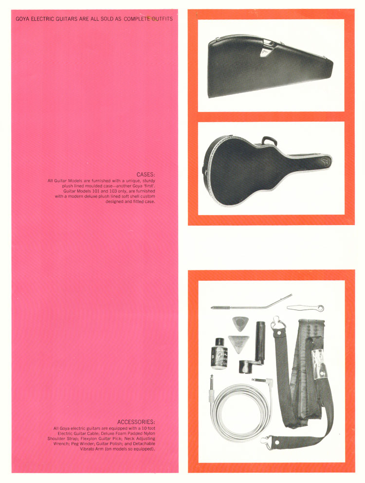 1966 Goya guitar catalogue page 3, straps and cases