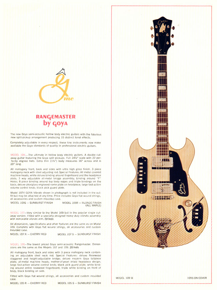 1966 Goya guitar catalogue page 4 - the Goya 109B guitar