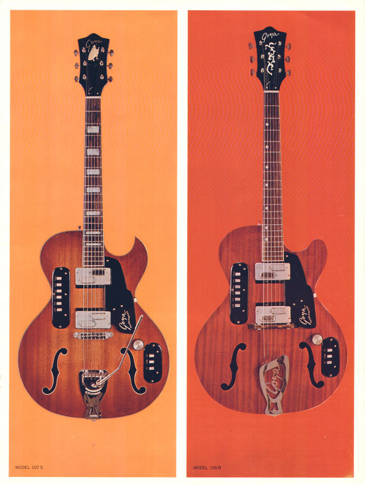 1966 Goya guitar catalogue page 5 - the Goya 105 and 107 Rangemaster electric-acoustic guitars