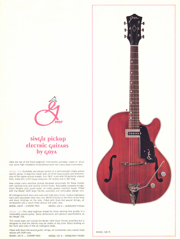 1966 Goya guitar catalogue page 6 - Goya 101 and 103 semi-acoustics