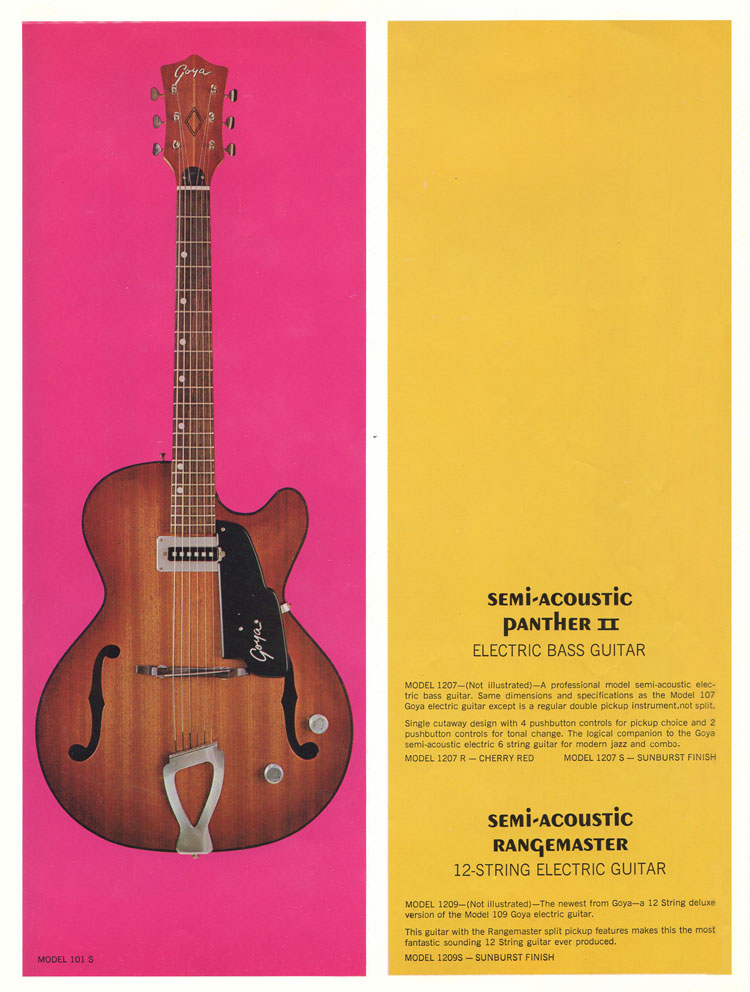 1966 Goya guitar catalogue page 7 - Goya 101, 1207 and 1209