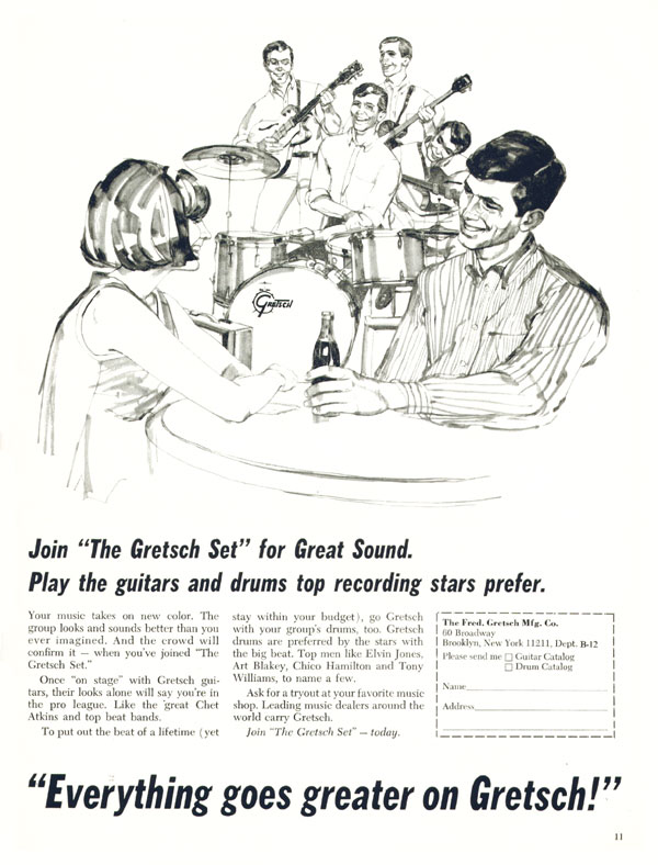 Gretsch advertisement (1965) Everything Goes Greater On Gretsch